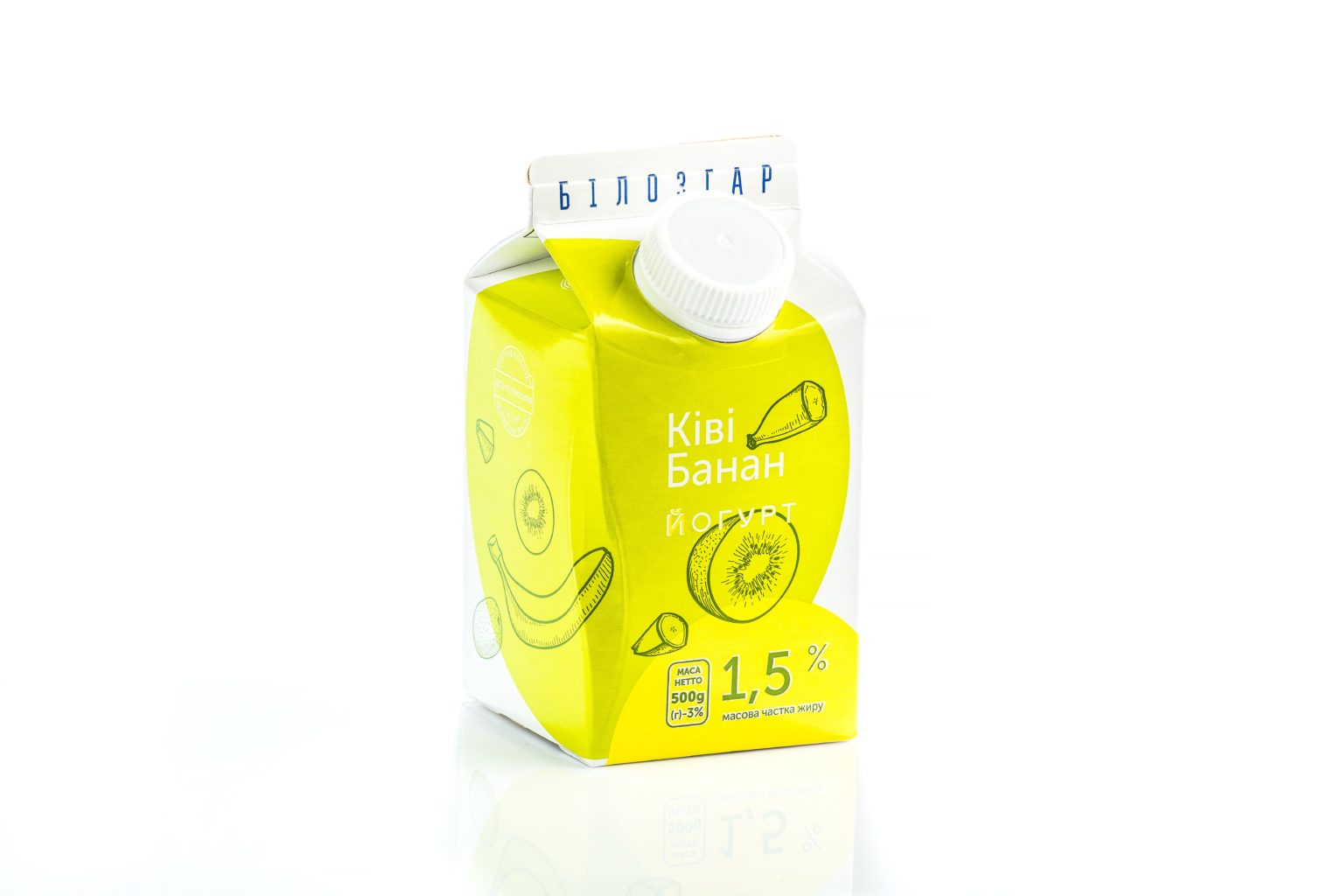 Fruit yogurt 'Kiwi-Banana', 1,5% of fat