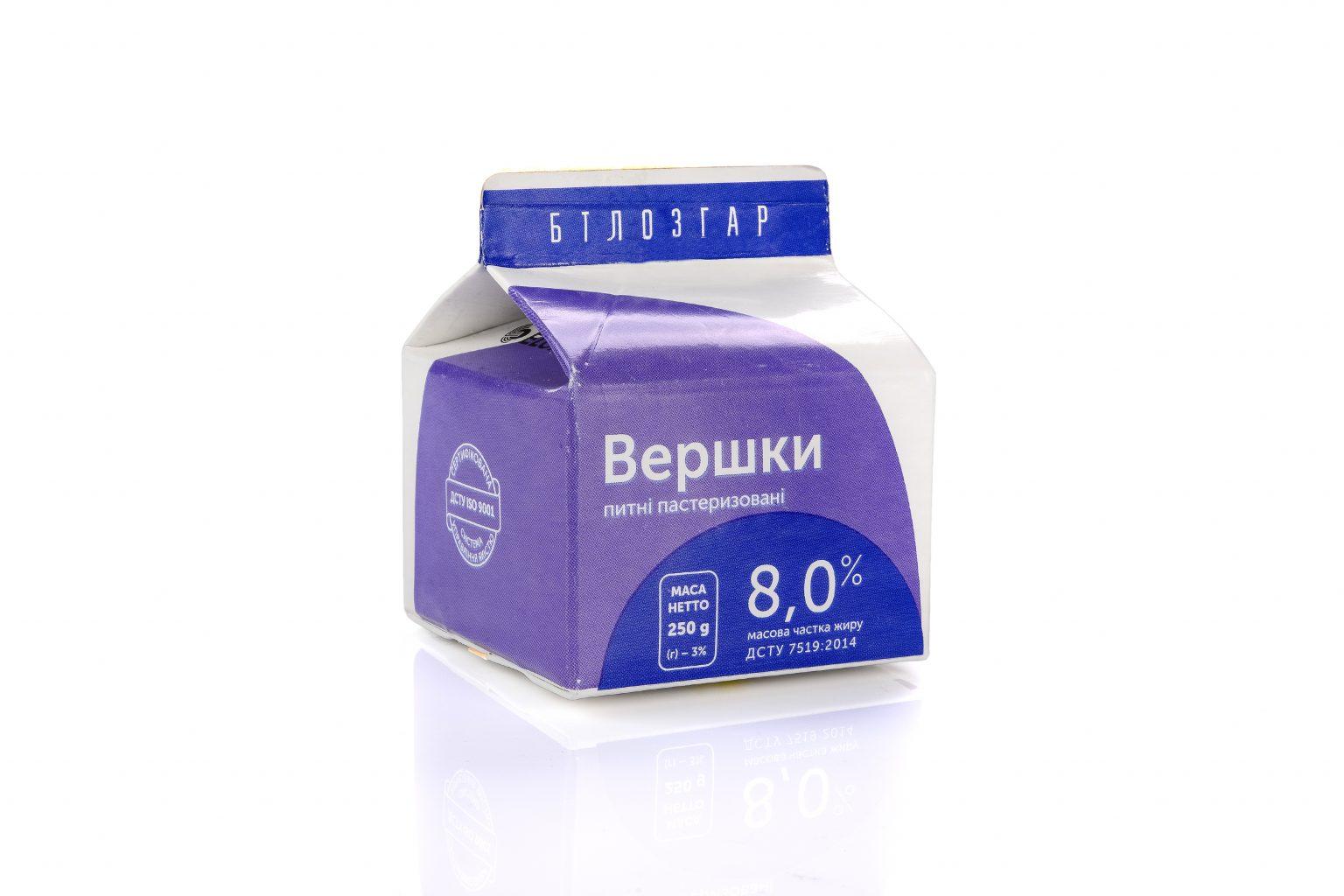 Pasteurized 8% fat liquid cream