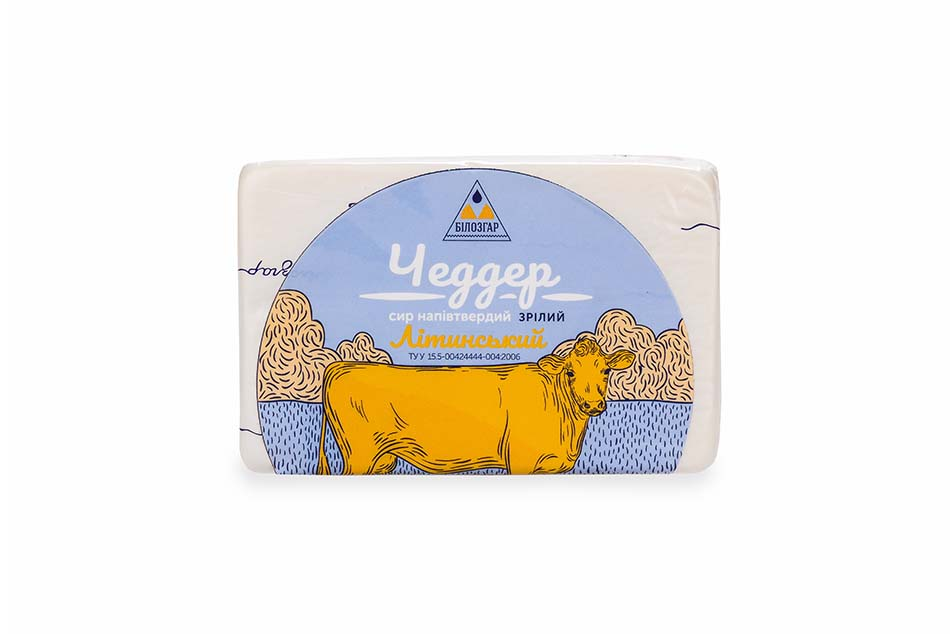 """Semi-hard cheese """"Cheddar Litynskyi"""", Aged, 40% of fat in dry matter"""