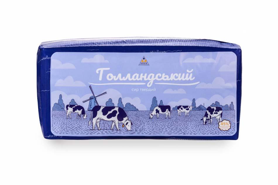 Hard cheese 'Gollandskyi', bar, 45% of fat in dry matter