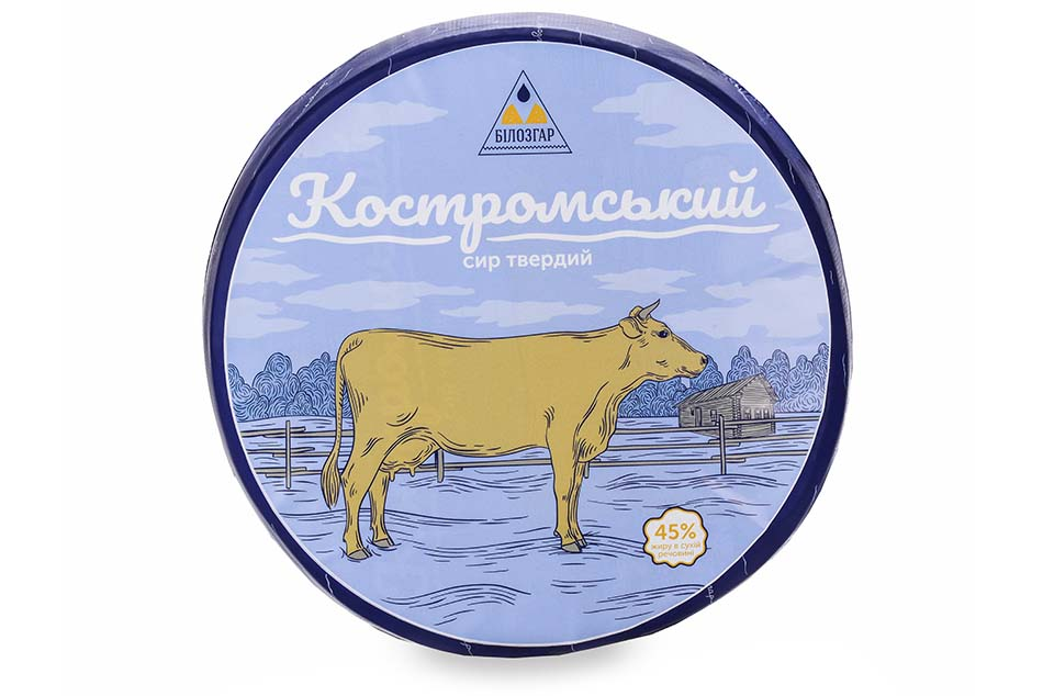 "Hard cheese ""Kostromskyi"", 45% of fat in dry matter"