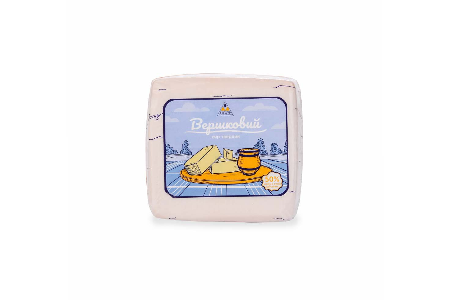 Hard cheese 'Vershkovyi', 50% of fat in dry felon